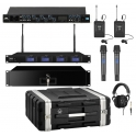 Four wireless microphones with digital interface portable kit